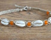 Hemp Necklace with Cowrie Shells and Orange Glass Beads