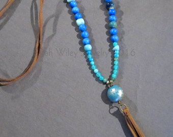 Necklace: Bottle Cap Bead Leather Tassel Necklace by Sarah Wiley Jewelry 160008BT
