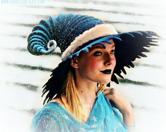 "Costume Hat. Tattered Brim ""Ice Mage"" Hat. Frost Witch Hat. Wizard Hat. Fantasy Hat. Cosplay Hat. LARP."