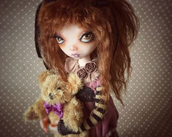 Art Doll Madeline OOAK child doll collectible art figure with miniature handmade Teddy Bear