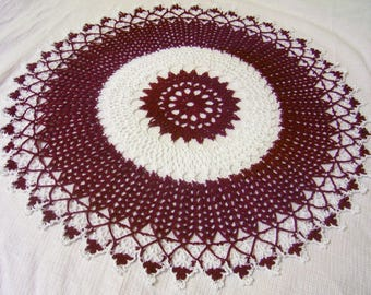 x-large crocheted doily burgundy and white handmade home decor Made to order