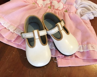 Vintage Baby Shoes White Buckles Walkers Altered Art Sz 3
