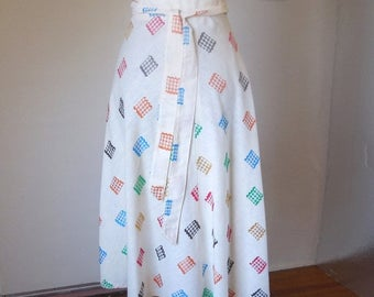Vintage 70's Wrap Skirt, Gingham Details on White, Adjustable, Women's Size Small to Medium