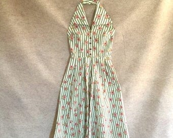 Vintage 50's Halter Sundress, White Cotton with Green Stripes, Pink Roses, Rockabilly, XS, Waist 25