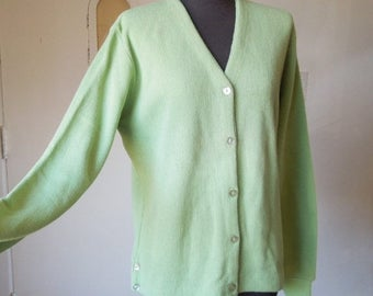 Vintage Cardigan Sweater, Mint Green Golf Sweater, Key Lime Green, Vegan Friendly Acrylic Knit, NOS, Women's Small to Medium