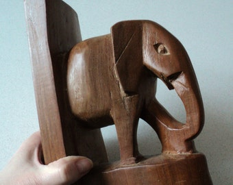 Elephant Hand Carved Wood Bookend