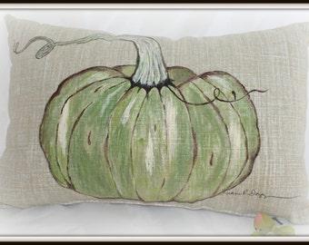 OOAK Handpainted Pumpkin Pillow