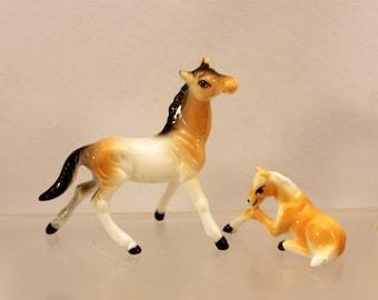 Pair Miniature Horse Figurine Mare and Colt Farm Animal Bone China Japan Vintage 1960s T