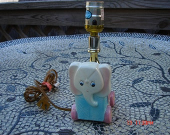Vintage Pink and Baby Blue Ceramic Elephant Lamp - Sweet