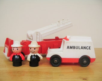 Fisher Price Fire Truck and Ambulance with Firemen