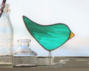 Teal Stained Glass Bird Suncatcher Spring Chick Ornament Handmade in Canada Fun Easter Gift
