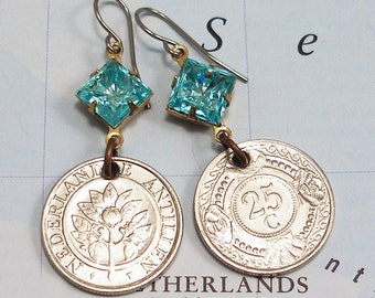 Netherlands Antilles, Vintage Coin Earrings --- Oranges Blossoms and Clam Shells --- Island Paradise - Caribbean Sea - World Travel - Beach