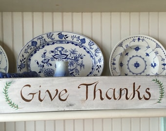 Reclaimed Wood Hand Painted Give Thanks Sign, Easter Spring Home Wall Decor, Home And Living, Holiday Decor