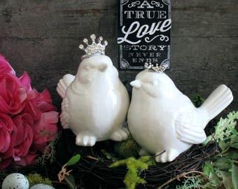 Love Birds Cake Topper Cake Topper Wedding Cake Topper Crown Bird Cake Topper Royal Cake Topper