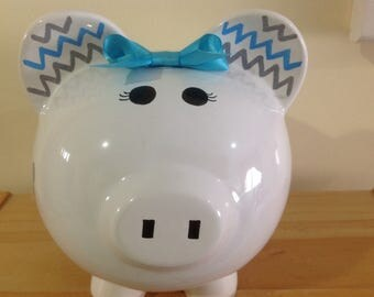 Personalized Large  Piggy  Bank Polka Dots Grey and aqua blue ,Baby Showers Christenings, Birthdays