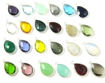Bezel Gemstone Pendant-Faceted Teardrop Charm-Sterling Silver Frame-Jewelry Charms and Pendants-Gem Pendant-22mm- 201110 - (1 pc)