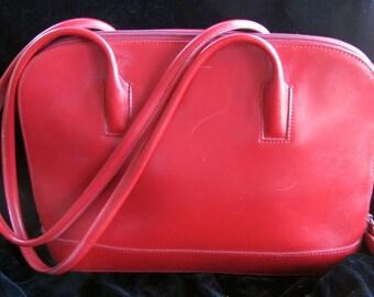 Vintage 80s - M. London - Red Leather Shoulder Purse