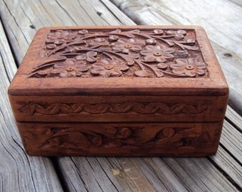 Hand Carved Wood Box, Fabric Lined, Carved Flowers on Lid, Wooden Vintage Jewelry Box, Trinket Box, Made in India