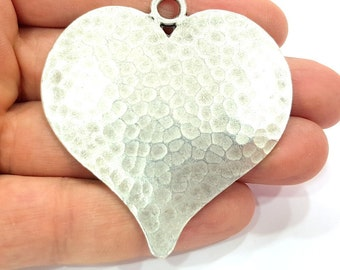 Antique Silver Pendant Large Heart Hammered Pendant Medallion  (65x58mm) Antique Silver Plated G6421