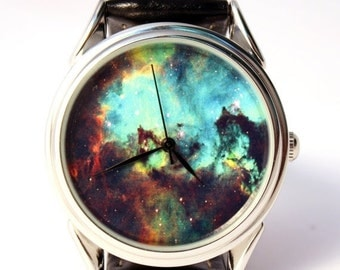 25% OFF ON SALE Space Galaxy Design Wrist Watch, Wristwatch, Watches, Men and Women Watch, Silver Watch Case, Leather Watch, Gift Idea