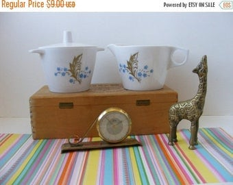 20% OFF MOVING SALE Melmac Creamer Sugar Set with Lid, Dorchester Dinnerware, Stackable, White Blue Gold Leaf Design