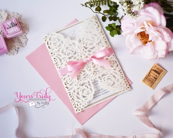 Sample - Custom Shimmer Ivory and Champagne Rose Design Laser Folder Invitation shown with pink ribbon or your choice of colors