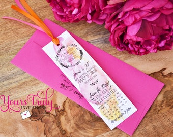Sample - Consider yourself Booked! -  Custom Watercolor Bookmark Wedding Save the Date Card with Calendar