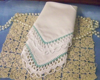 Lace Handkerchief, Hanky, Hankie, Hand Crochet, Lacy, Aqua, Turquoise, Custom, Personalized, Monogrammed, Embroidered, Bridal, Bridesmaids