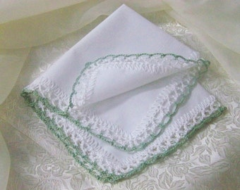 Crochet Handkerchief, Hanky, Hankie, Lace, Crochet lace, Personalized, Monogrammed, Embroidered, Ladies, Sage Green, White, Ready to ship
