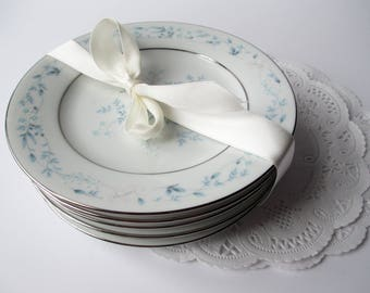 Vintage Bread and Butter Plates Noritake Carolyn Blue Pink Floral Set of Six - Weddings Bridal