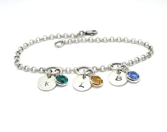 Birthstone & Initial Bracelet- Mothers Bracelet- Grandmothers Bracelet