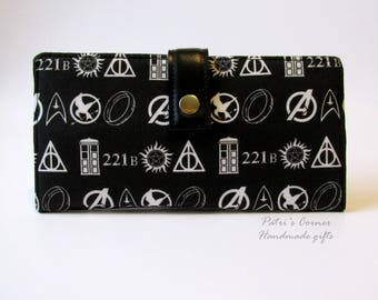 Handmade womens wallet clutch  - white symbols on black - LOTR - TARDIS - Supernatural - Sherlock Holmes -  ID clear pocket - gift for her