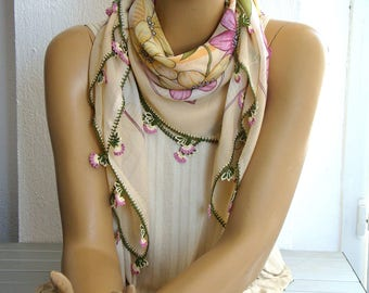 cream and pink scarf, turkish oya