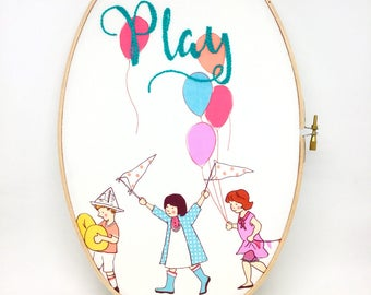 Children's Hand Embroidery Hoop Art. In The Hoop Embroidery. Colourful Fabric Picture. Play. Nursery Art Decor. Oval Picture Hoop. Kids Room