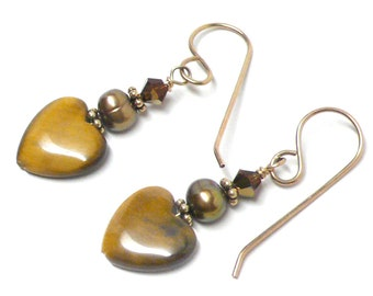 Tigereye 12mm heart earrings sterling silver gold-filled Austrian Swarovski crystal pierced or clip-on freshwater pearl