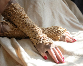 Gloves, fairie punk, victorian, steampunk, tatter punk, woodland fae, textured, layered, brown, dragon scales, fingerless gloves, women