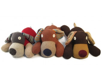 Cate and Levi Handmade Dog Stuffed Animal (Premium Reclaimed Wool), Colors Will Vary
