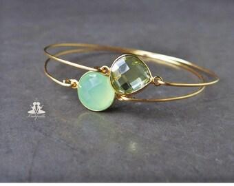 2 bangles set - green chalcedony and lemon topaz