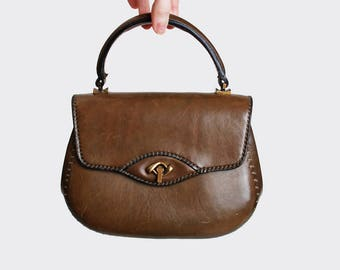 Vintage 1960s Brown Leather Purse by Bojola / 60s Handbag / Top Handle Purse
