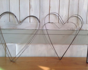 Antique French Metal Hearts, Vintage Wedding Decor & Props , Rustic Wedding Decor 2pc