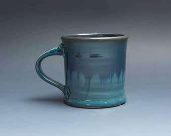 Pottery coffee mug, ceramic mug, stoneware tea cup navy blue 12 oz 3847