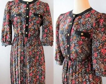 Vintage 1980's Mini Ditsy Floral Sun Dress / Grunge 80's 90's Black & Pink Rayon Garden Party Dress Casual Secretary Dress Size S/M