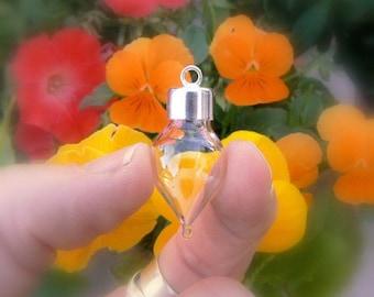 STERLING Tear/Tube/Heart/Globe Pendants w/Silver Caps (large/glass/bottles/vials/.925/tubes/miniature/small/wishing/caps/tops/teardrop/tiny)
