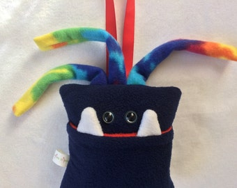 Tooth Fairy Pillow | Navy Blue and Tie Dyed Tooth Monster | Tooth Fairy Monster Pillow