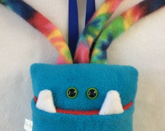 Tooth Fairy Pillow | Turquoise Blue and Tie Dyed Tooth Monster | Tooth Fairy Monster Pillow