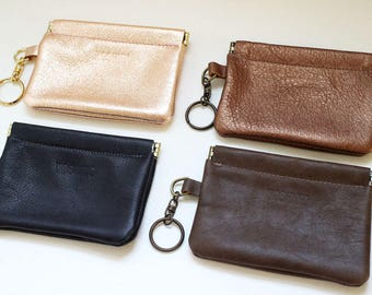 Leather Flex Frame Wallet / Coin Case / Card Case / Pouch