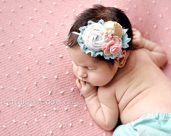 Glimmer Time- white gold peach pink and aqua mint rosette headband bow