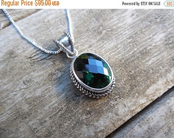 ON SALE Deep green amethyst neckalce in sterling silver