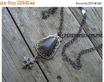 ON SALE Fossilized black coral necklace in sterling silver