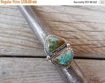 ON SALE Two stone turquoise ring handmade and signed by a Navajo silversmith in sterling silver